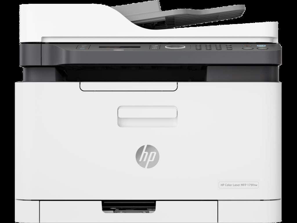 HP Color Laser MFP 179fnw - Impresora láser multifunción (Imprime, Copia y escanea, 18/4 ppm, LED, USB, FAX, WiFi), Blanco/Gris