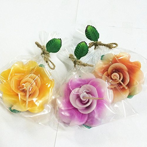 3 Pcs Set#1 Thai Aroma Candle Floating Flower Rose Small Spa Handcraft Craved Home Garden Interia - Candles Snowflake Floating