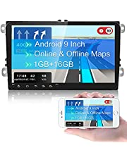 """CAMECHO Dubbele Din Auto Stereo voor VW GPS Navigatie 9"""" Capacitief Touchscreen Bluetooth Auto Stereo Ondersteuning WIFI/FM Radio Ontvanger/Dual USB voor Golf Touran Tiguan Seat Altea"""