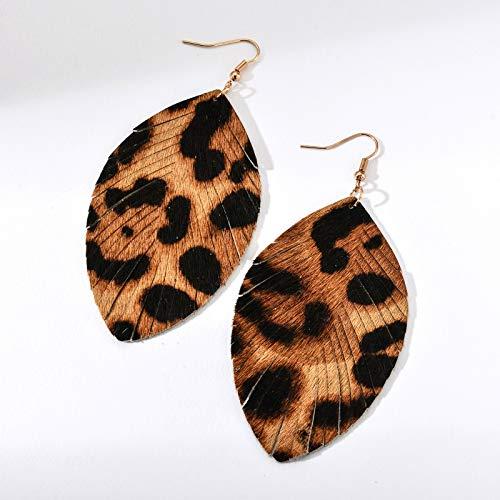 Black tassel style Genuine leather fringe earrings Simple Boho