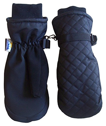 N'Ice Caps Kids Thinsulate and Waterproof Quilted Ski Mittens (2-3yrs, Black)