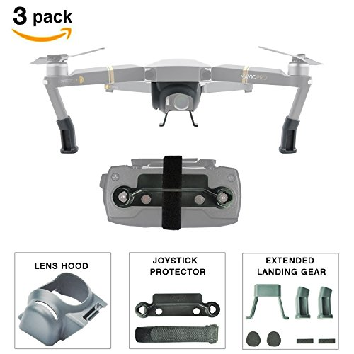 DJI Mavic Pro Accessories Bundle [3-PACK] Included Landing Gear with Landing Skid Pad, Mavic Lens Hood Sunshade, Remote Joystick Holder Bracket