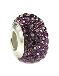 Sterling Silve Simulated Birthstone Round Crystal Bead European Style Bead Charm
