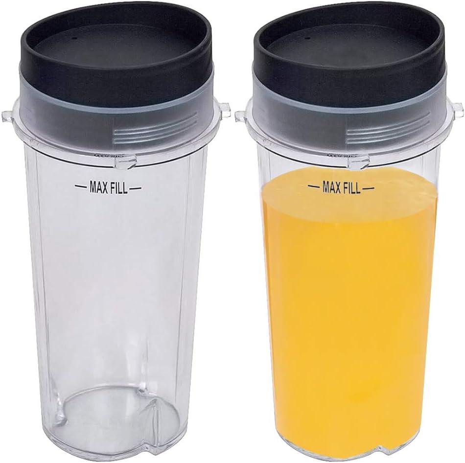 16 Oz Replacement Nutri Ninja Blender Cup,Single Serve Blender Cup With 2 Lids Set For BL770 BL780 BL660 BL740 BL810 Professional Blender (2-pack),Clear