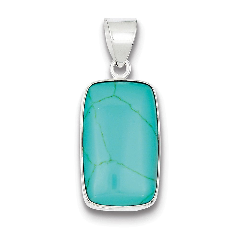 Lex /& Lu Sterling Silver Rectangle Turquoise Pendant