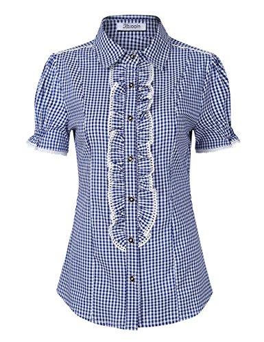 Aoile Women's Oktoberfest Plaid Short Sleeve Turn Down Collar Stylish Retro Shirt(Blue,L) -