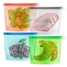GERMER 1L Reusable Silicone Kitchen Food Fresh Bag, 30 Oz 4 Cups Seal Fridge Storage Bag, Versatile Leak-Proof Bag Pack Of 4