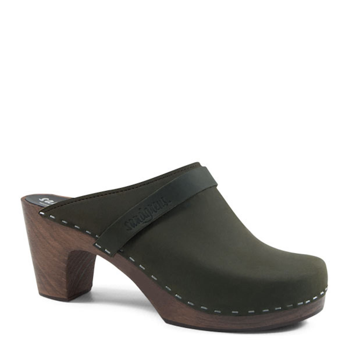Olive Sandgrens Maya High Rise Heel Swedish Wooden Clogs for Women