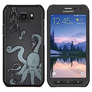TECHCASE---Cubierta de la caja de protección para la piel dura ** Samsung Galaxy S6 Active G890A ** --Arte de la pintura de la serpiente de mar Kraken