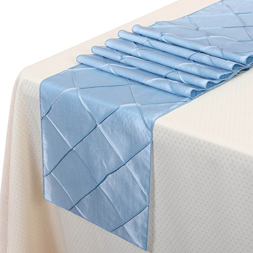 Remedios 12x108 Inch Pintuck Taffeta Table Runner Wedding Decoration Baby (Light Blue Table Runner)