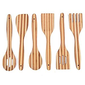 3E Home Organic Bamboo Wood Cooking Utensil Set, Kitchen Utensil, Cookware Utensil, Serving Utensil, Eco-friendly Natural Bamboo (6-Piece set without holder)