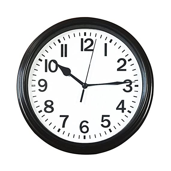 BINWO Wall Clock, Modern Indoor Silent Non Ticking Quality Quartz 8 Inch Battery Operated Round Easy to Read Home/Office/School Clocks - 100% Non-ticking & Accurate: Precise Quartz Sweep Movement guarantees accurate time and absolutely SILENT environment. CLASSIC & ELEGANT: Classic styling and black rim perfect for any home or office decor style. EASY VIEWING: Special shatter-proof glass cover offers better clarity with large numerals for easy viewing. - wall-clocks, living-room-decor, living-room - 51naJiA9qtL. SS570  -