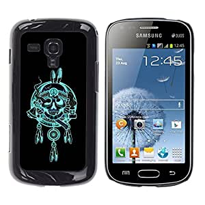 Paccase / SLIM PC / Aliminium Casa Carcasa Funda Case Cover - Indian Chief Feathers Hatchet Skull - Samsung Galaxy S Duos S7562
