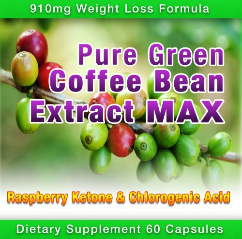 Pure Green Coffee Bean Extract Max ~ Strongest Diet Pill ~ 910mg Weight Loss Formula ~ Green Coffee Bean Extract 800mg ~ 100mg Raspberry Ketones ~ Downloadable FOOD JOURNAL Included ~ Contains up to 45% to 50% Chlorogenic Acid ~ 3 Month Supply by Diet Health Solutions (Image #1)