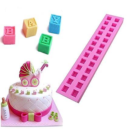 Amazon New English Letters 3D Baby Building Block Fondant Cake