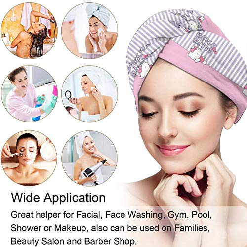 Hair Towel Wrap Turban Hello Kitty Sleeping Microfiber Drying Bath Shower Head Towel With Button, Dry Hair Hat