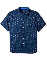 Men's Short Sleeve Signature Print Button Down Shirt
