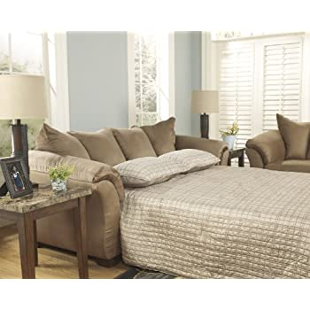 "Darcy Collection 7500236 90"""" Full Sofa Sleeper with Fabric Upholstery Plush Padded Arms Tapered Block Feet and Contemporary Style in Mocha"