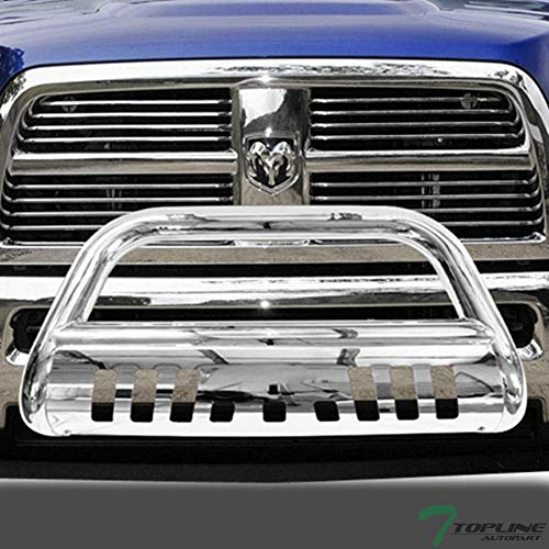 Topline Autopart Polished Stainless Steel Bull Bar Brush Push Front Bumper Grill Grille Guard With Skid Plate For 09-17 Dodge Ram 1500 ()