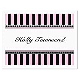 Pink & Black Personalized Note Card Set - 24 cards with envelopes