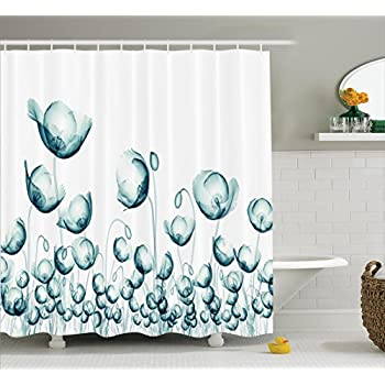 Ambesonne Xray Flower Decor Shower Curtain Set X Ray Picture Of Poppy Flowers In A Windy Day Unusual Look Nto The Nature Art Bathroom Accessories