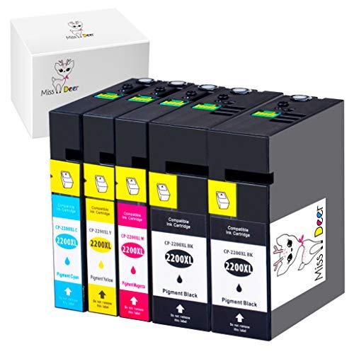 Miss Deer Compatible Canon 2200XL Ink Cartridge Replacement for Canon PGI-2200XL PGI-2200 XL 2200XL High Yield Maxify MB5020 iB4120 MB5320 MB5420 MB5120 iB4020 Inkjet Printers (2BK+1C+1M+1Y 5 Pack) ()