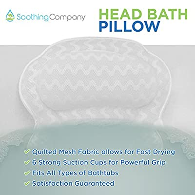 Bath Pillow By Soothing Company | Bathtub Cushion for Neck, Head & Shoulders | Luxurious Spa Comfort