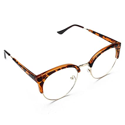 a4a2cd0185 Amazon.com  Glasses - SODIAL(R)Retro Style Women Men Round Nerd Glasses  Clear Lens Eyewear Metal Frame Glasses Colors Leopard+Gold Frame  Sports    Outdoors