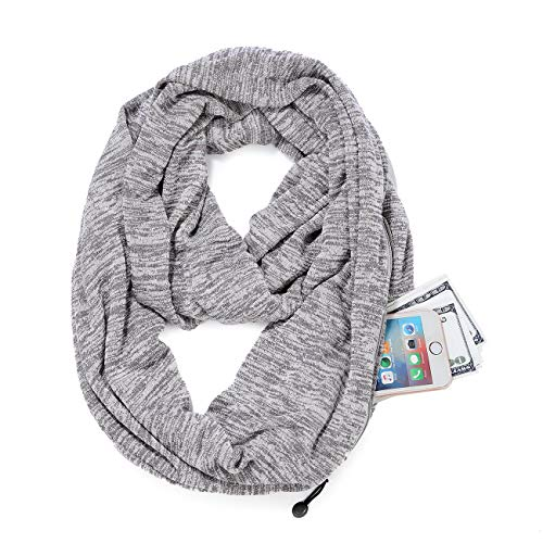 Scarf With Pockets - New Premium Pocket Infinity Scarf Fashion Scarves Wrap With Zipper Carabiner,Travel Scarf (Light Gray)