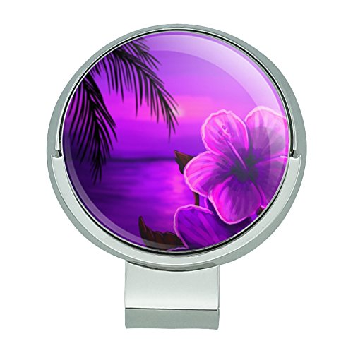 Beach Sunset Hibiscus Flower Hawaiian Purple Golf Hat Clip With Magnetic Ball - Clip Ball Flowers Hat Marker
