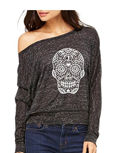 Day Of Dead Sugar White Skull Long-Sleeve Zombies Halloween Flowy Shirt 2XL Black Marble s13]()