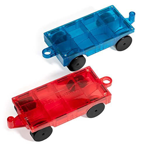 NEW Mag Builders 2 Piece Car Set - Magnetic Truck Car Train - Magnet Building Tile Magnetic Blocks - Creativity Beyond Imagination! Educational, Inspirational, Conventional,& Recreational! (100 Piece Train Set)