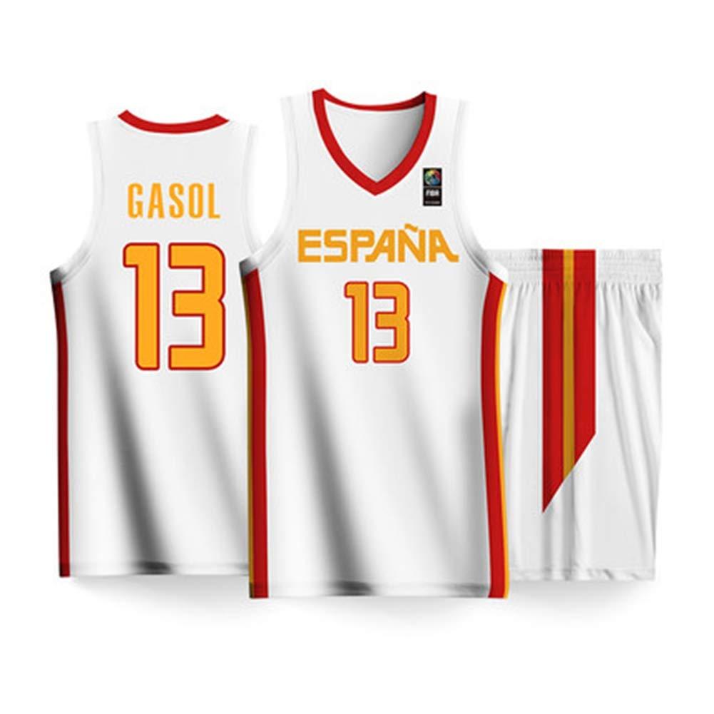 HS-ATI NICE Camiseta de la Copa Mundial de Baloncesto de Espa/ña 2019# 13 PAU Gasol Ropa de Baloncesto para Hombres Chaleco sin Mangas de Secado r/ápido Tops Uniforme,2XS:155CM~160CM