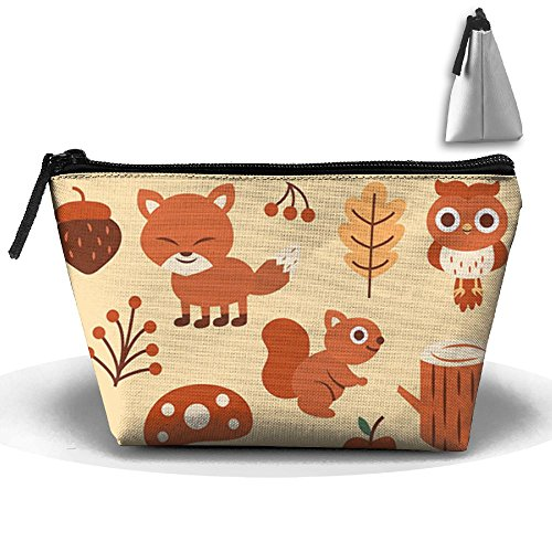 - ZRTGS Lovely Autumn Animals And Plants Personality Portable Women Trapezoid Travel Bag Cosmetic Bag Receive Bag