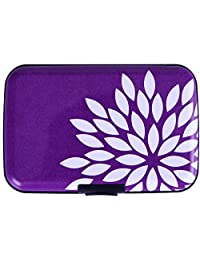 HDE Aluminum RFID Blocking Wallet Identity Protection Travel Credit Card Case (Purple Flower)