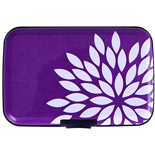 HDE Aluminum RFID Blocking Wallet Identity Protection Travel Credit Card Case (Purple Flower)