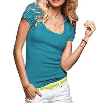 Women's Short Cap Sleeves Scoop Neck Tee T Shirt Cotton Top Plus Size (1XL, Aqua Blue)
