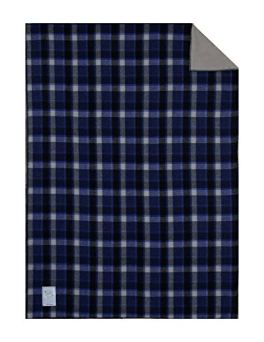 Woolrich Home Hickory Run Sherpa Lined Blanket, 50 by 68-Inch, Blue Plaid