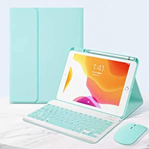 for iPad Air4 10.9 2020 Keyboard Case+Mouse with Magnetically Detachable Wireless Keyboard and Pencil Holder, Slim Lightweight Smart Cover for iPad Air 4th Gen (iPad Air 4 10.9, Mint Green)