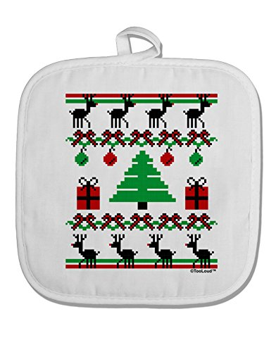 TooLoud Tree with Gifts Ugly Christmas Sweater White Fabric