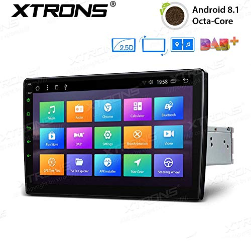 XTRONS Android 8.1 Oreo Octa Core 10.1 Inch 2GB DDR3 RAM 32GB ROM Rotatable Face Panel Car Stereo Radio GPS 4K Video WiFi OBD2 Screen Mirroring - Stereo Car Face