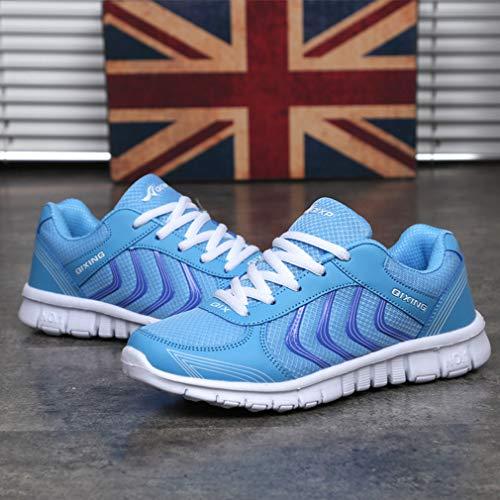 Zapatillas Deportes Unisex Ligero Mujer Zapatillas Gimnasio Zapatos Casuales Deportes Trotar Respirable Azul de C Sneakers Moda Hombre Corriendo wSZAZ