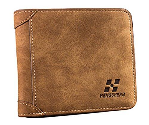 (Men's Suede Look Design Bifold Wallet (Baellery Hengheng Brown))