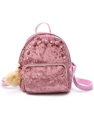 Mini Backpack Girls Fashion Gold Velvet Shoulder Bag Lightweight Daypack