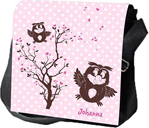 Schultertasche Umhängetasche Handtasche personalisiertes Geschenk Eulen Party Baum Liebe Freundschaft