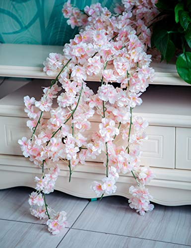 YXMYH 4pcs Artificial Cherry Blossom Flower Vines Hanging Silk Flowers Garland for Wedding Party Home Decor, 5.9 Feet