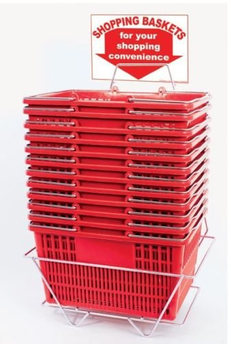 New - 12 Red Durable Break Resistant Plastic Shopping Baskets W/metal Stand by Shopping Basket