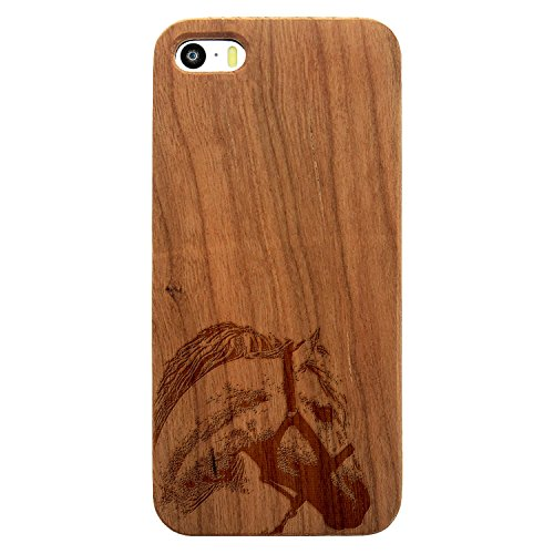 (JewelryVolt Wooden Phone Case for iPhone 5 or iPhone 5s Cherry Wood Laser Engraved Animal Riding Horse Head)
