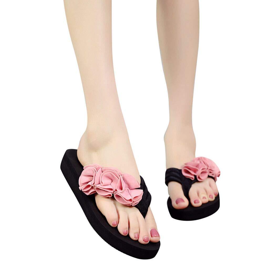 Frunalte Women Casual Shoes Summer Fashion Women's Flower Clip Toe Flip Flops Non-Slip Wedges Beach Slippers Pink by Frunalte shoes (Image #2)