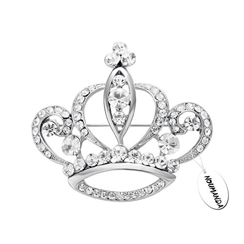 NOUMANDA Women Shiny Rhinestone Crown Brooch Pin (silver)